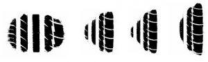 Пятна контакта при движении по дуговой траектории на шинах с отличающимся профилем