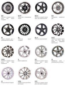 Варианты окраски дисков